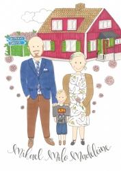 Familj med sitt hus